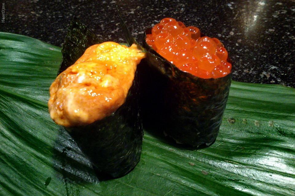 Sushi de ovas de ouriço e ovas de salmão - Shin Zuzhi